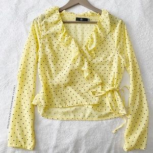 Misguided Yellow Polkadot Wrap Top